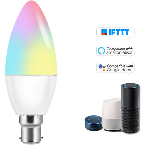 Bombilla V16-C inteligente WIFI LED RGB + W LED bulbo de la vela 6W B22 regulable Luz Telefono de control remoto Control de Grupo Compatible con bulbo Alexa pagina principal de Google Voice Genie Tmall de control de luz