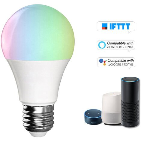 Bombilla V5 inteligente WIFI bombilla LED RGB + W LED de 11W E26 regulable Luz Telefono de control remoto Control de Grupo Compatible con bulbo Alexa pagina principal de Google Voice Genie Tmall de control de luz