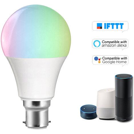 Bombilla V5 inteligente WIFI bombilla LED RGB + W LED de 11W regulable B22 Luz Telefono de control remoto Control de Grupo Compatible con bulbo Alexa pagina principal de Google Voice Genie Tmall de control de luz
