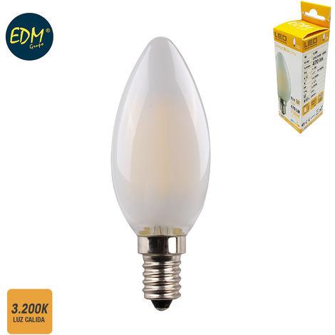 BOMBILLA VELA FILAMENTO LED CRISTAL MATE E14 4,5W 470 LM 3200K LUZ CALIDA EDM