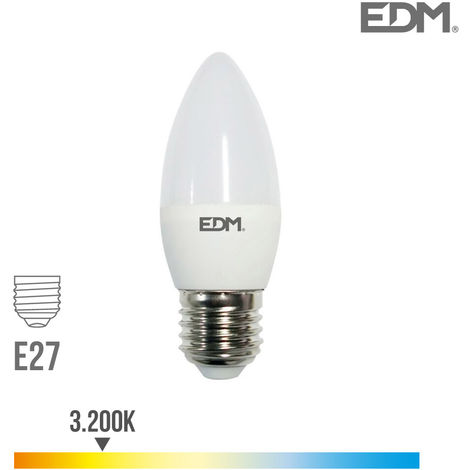 Bombilla vela LED E27 5w 400 lm 3200k luz calida EDM 98836