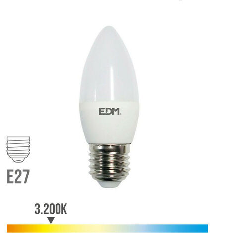 Bombilla vela led e27 5w 400 lm 3200k luz calida edm