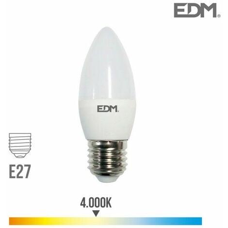 Bombilla vela LED E27 5w 400 lm 4000k luz dia EDM 98837