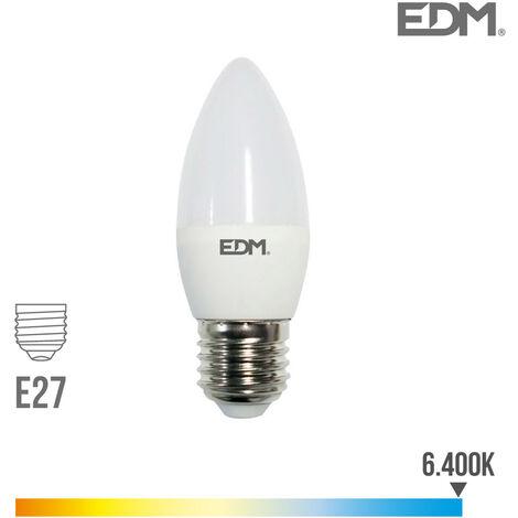 Bombilla vela LED E27 5w 400 lm 6400k luz fria EDM 98838