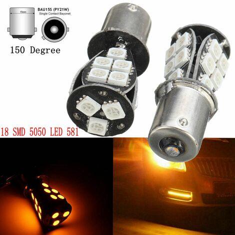 Bombillas indicadoras 2Pcs 18-LED SMD 5050581 BAU15S 1156 PY21W