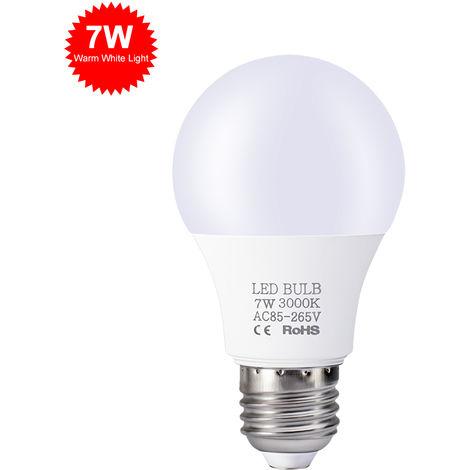 Bombillas LED 7W, E27 bombillas, blanco caliente, 85V-265V