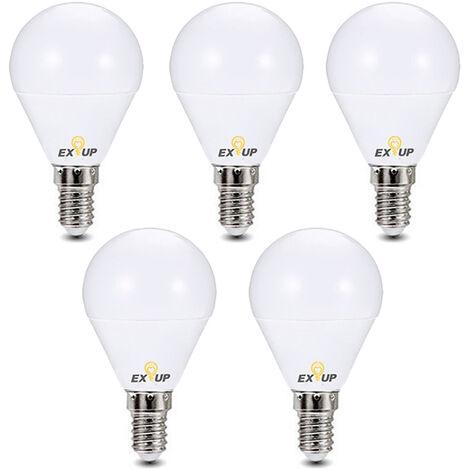 Bombillas LED de 220-240 V , 7W E14 Bombilla de foco LED Lampara Bombillas de luz de globo,Blanco, 5 piezas