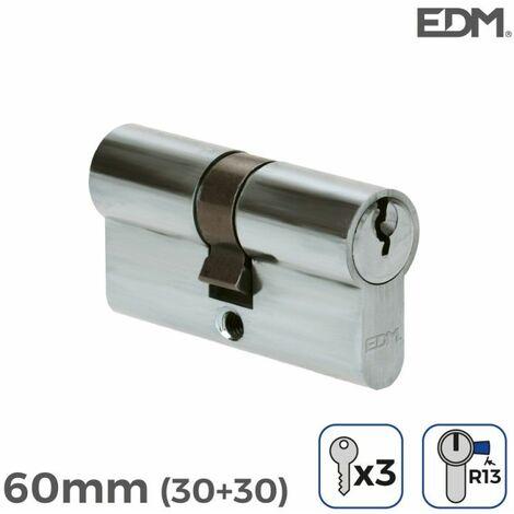 Bombin niquel 60mm (30+30mm) con 3 llaves de serreta incluidas edm EDM 85177