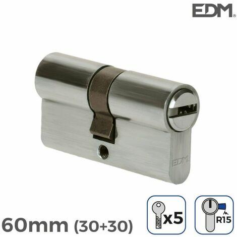 Bombin niquel 60mm (30+30mm) con 5 llaves seguridad incluidas edm EDM 85174