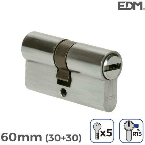 Bombin niquel 60mm (30+30mm) con 5 llaves seguridad incluidas edm EDM 85180