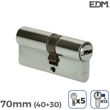 Bombin niquel 70mm (40+30mm) con 5 llaves seguridad incluidas edm EDM 85181