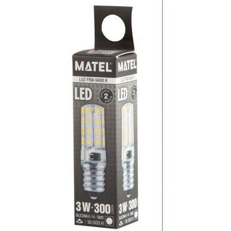 BOMB.LED SILICONA TUB.E14 3W.230V.FRIA Matel