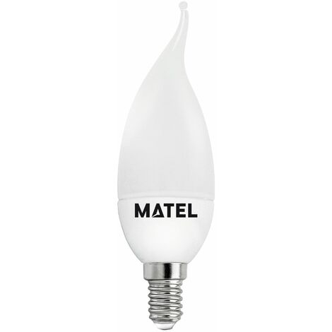Bombilla LED vela flama E14 3w fría 300lm