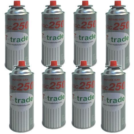 Bombolette gas butano multipack 8 pezzi 250 grammi fornelli campeggio casa