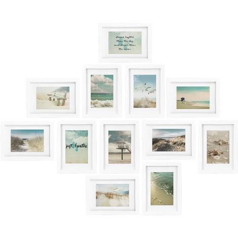 bomoe Juego de Marcos de Fotos múltiples para la Pared Ocean Collage - 12 Piezas - con paspartú - 12x 13x18cm