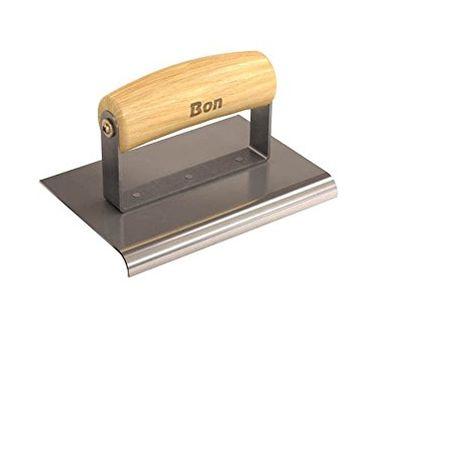 Bon 12-449 - Spatola rifilatrice bordi marciapiedi in cemento, in acciaio inossidabile con manico in legno, 15-10 cm