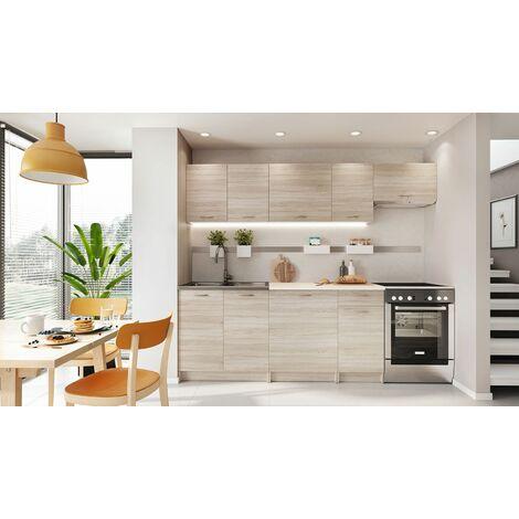 BONA | Cuisine Complète Modulaire + Linéaire L 240 cm 7 pcs | Plan de travail INCLUS | Ensemble armoires meubles cuisine - Sonoma