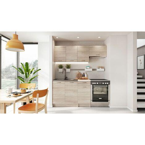 """main image of """"BONA Mini - Cuisine Complète Linéaire L 180cm 5 pcs - Plan de travail INCLUS - Ensemble meubles cuisine - Sonoma/Blanc"""""""