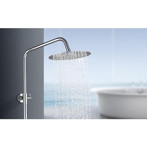 BONADE 10 Zoll Einbauduschkopf Regendusche Kopfbrause 304 Edelstahl Regenbrause poliert Spiegeleffekt Brausekopf mit Anti-Kalk-Düsen(25 cm Rund)