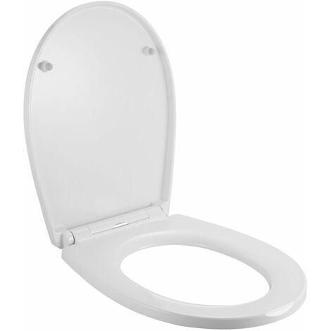 BONADE Abattant WC, Cuvette Toilette avec Frein de Chute et Démontage Rapide, Lunette de Toilette en Aminolac avec Fermeture en Douceur, Abattant WC en Forme de O - blanc
