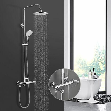 BONADE Duschsystem mit armatur Regendusche Edelstahl Duschset inkl. 9 zoll Duschbrause, Verstellbare Duschstange, Handbrause mit 3 Strahlarten, Duschsäule für Badzimmer