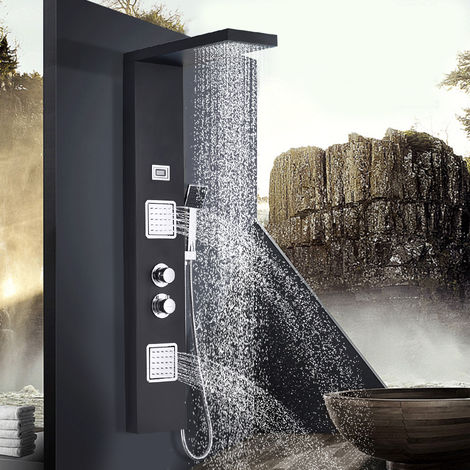 BONADE Functional Thermostat Black Shower Panel in Stainless Steel with Wall Mount and Surface Mount with Temperature Dispersion (Thermostat Shower Panel)