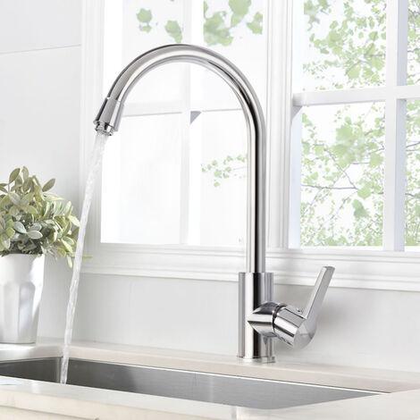 BONADE Küchenarmatur Hochdruck Wasserhahn 360° Drehbare Spültischarmatur Einhebel Mischbatterie Messing Hochdruckarmatur Küche Spültischbatterie für Spüle chrom