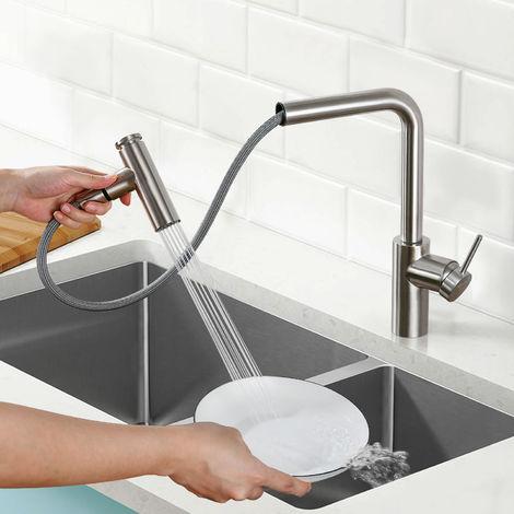 BONADE Küchenarmatur mit 2 Strahlarten Ausziehbare Hochdruckarmatur 360° Drehbarer Wasserhahn Edelstahl Spültischarmatur Einhebel Mischbatterie für Spüle, Gebürsteter Nickel