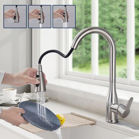 BONADE Küchenarmatur mit Ausziehbarer Brause Wasserhahn Küche Hochdruck Armatur 360° drehbare Spültischarmatur Edelstahl Mischbatterie Einhebelmischer Küchenspüle