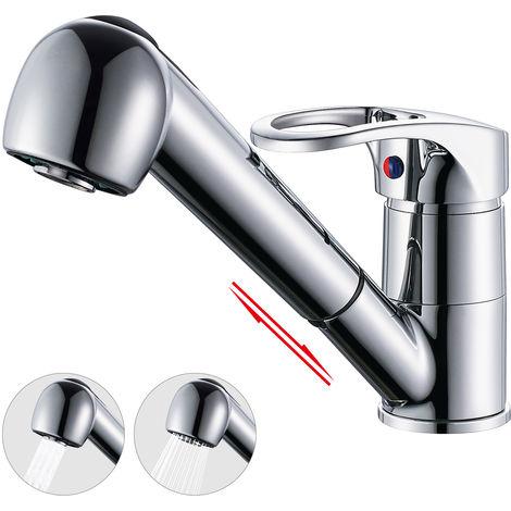 BONADE Robinet de cuisine extensible avec double robinet de douche Robinet Robinet de cuisine rotatif