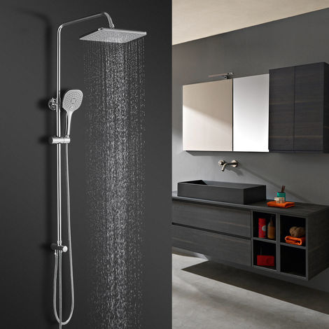 BONADE Shower System Rainfall Shower Set with Hand Shower Head Shower Head Height Adjustable Shower Head Shower Head with Hose and Shower Column Holder Without Faucet