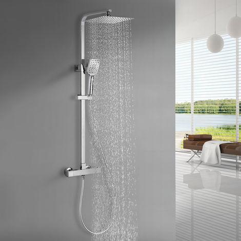 BONADE sistema de ducha accesorio de ducha set de ducha fija de 9 pulgadas ducha de mano con 3 chorros panel de ducha ajustable en altura con soporte de pared ducha de lluvia ducha fija sistema de ducha para bañera bañeras cromo
