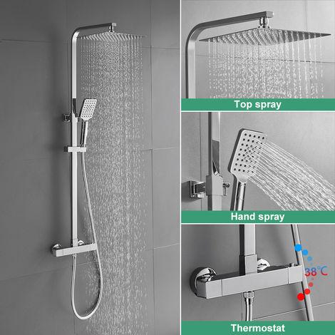 BONADE Sistema de ducha con termostato conjunto de ducha de lluvia de 10 pulgadas columna de ducha de acero inoxidable ducha incl. Varilla de ducha ajustable, ducha de mano con 3 modos de rociado