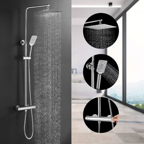 BONADE Thermostatic Shower System Rainfall Shower Head Stainless Steel Shower Head Shower Set Adjustable Shower Rod Hand Shower 3 Types of Spout Soap Column with Wall Mount for Exposed Shower