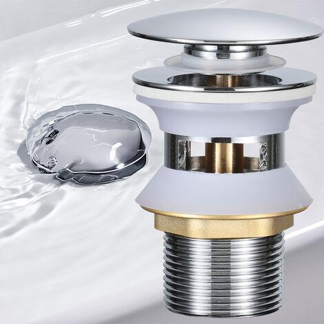 BONADE Universal Ablaufgarnitur mit Überlauf POP UP Ablaufventil Push-Open Stöpsel Chrom Abfluss Ventil Messing Abflussgarnitur Spüle Ablauf für Waschtisch Waschbecken Spültisch Spülbecken