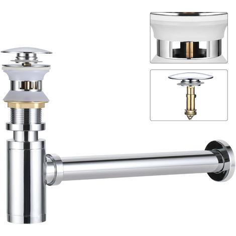 """BONADE Universal Siphon Set Waschbecken mit Überlauf Pop Up Ablaufventil 1 1/4"""" Ablaufgarnitur Push-Up Stöpsel Abfluss Ventil für Waschtisch Chrom"""