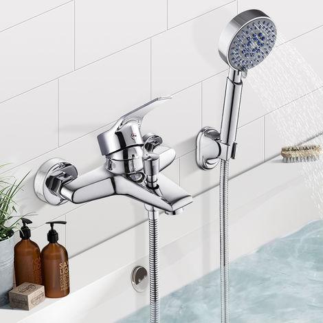 BONADE Wannenarmatur mit Handbrasue Badewanne Wasserhahn Wannenbatterie Duschkopf mit 5 Strahlarten Aufputz Duscharmatur dusche für Wandmontage Einhebelmischer für Wandbadewanne
