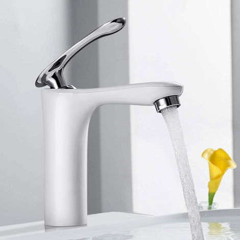 BONADE Waschtischarmatur Bad Wasserhahn Weiß Armatur Einhebel Mischbatterie Waschbecken Badarmatur Einhebelmischer für Badzimmer