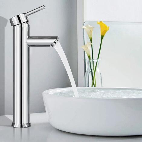 BONADE Waschtischarmatur Hoher Wasserhahn Einhebel Mischbatterie Messing Badarmatur Verchromter Einhandmischer für Waschbecken Armatur Einhebelmischer für Bad