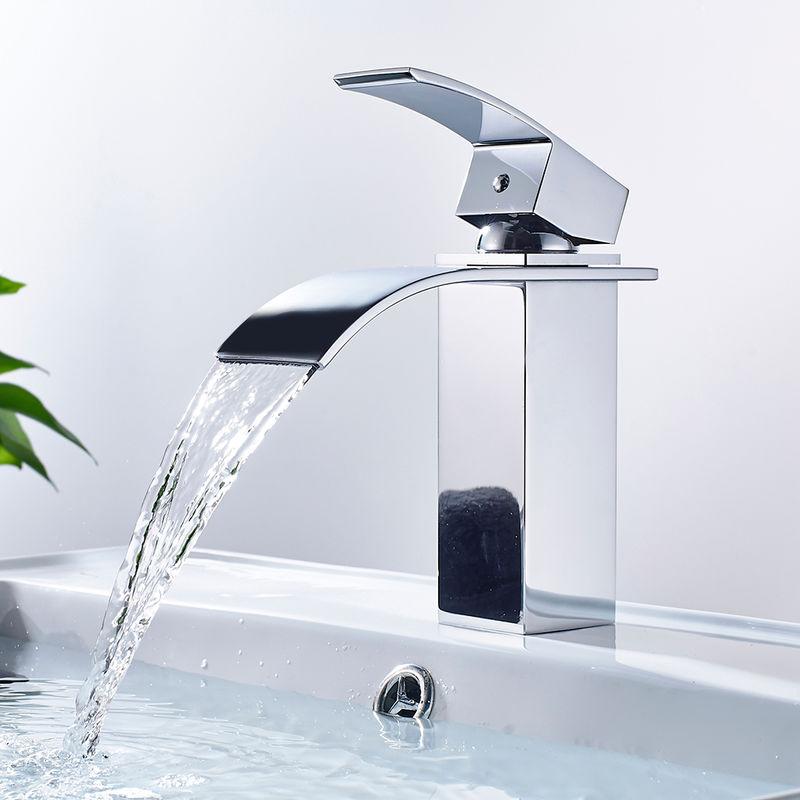 BONADE Wasserfall Wasserhahn Chrom Einhebel-Waschtischarmaturen Bad Armatur  für Badezimmer Waschbecken