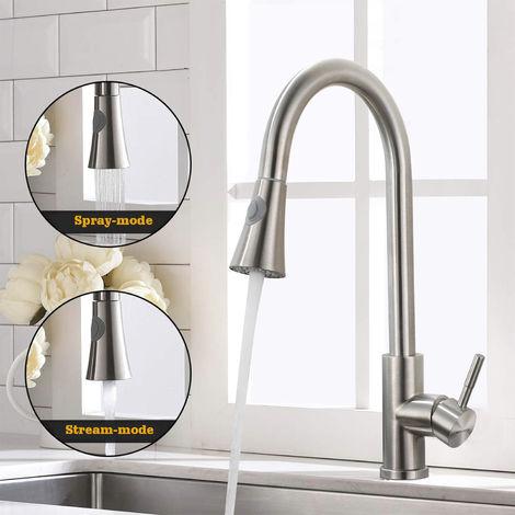 BONADE Wasserhahn Küche Ausziehbar Küchenarmatur 360° Drehbare Spültischarmatur Edelstahl Mischbatterie Spültischarmatur für Spülbecken
