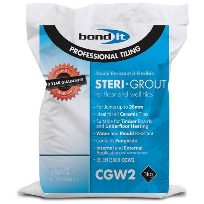 Image of Steri-Grout for Walls & Floors Grey 3kg - size - color Grey - Bond-it