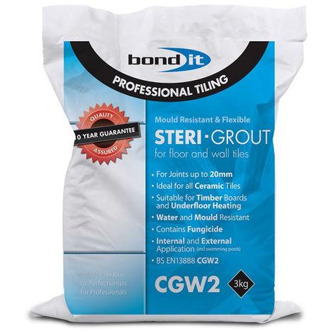 Bond It 3kg Grey Steri-Grout Wall & Floor Tile Grout Mould Resistant Flexible