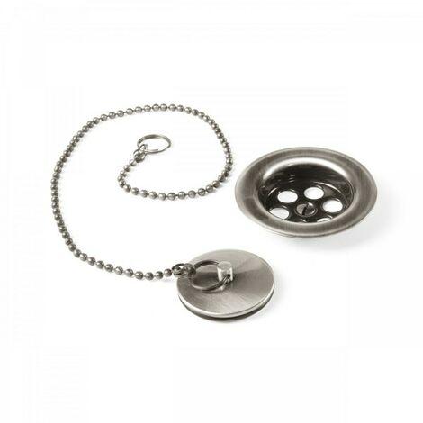 Bonde à bouchon pour lavabo, bidet et évier Ø 70 mm Chaînette de 42 cm. - TRES 03474601AC