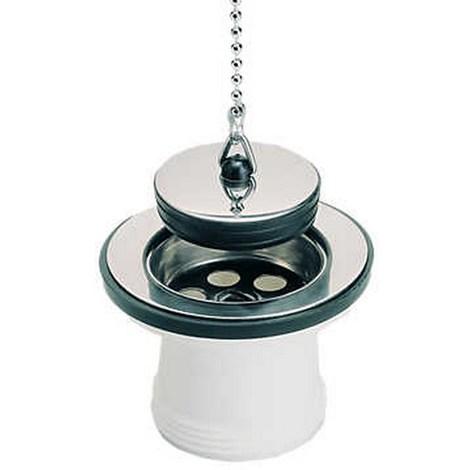 Bonde à bouchon sans trop plein pour évier inox - Pour perçage diamètre 50 mm