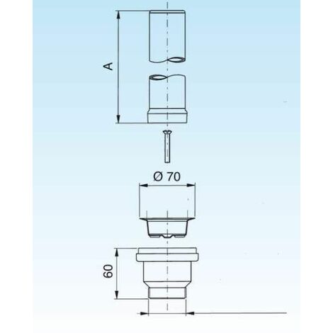 Bonde avec tube de surverse acier inox 170mm pour évier diamètre 60mm