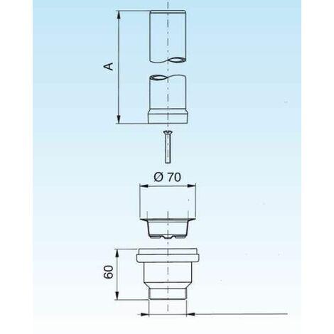 Bonde avec tube de surverse acier inox 240mm pour évier diamètre 60mm
