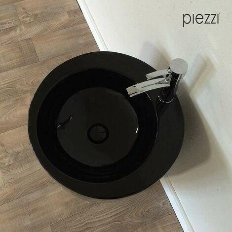 Bonde clic-clac pour vasque + cache rond en céramique noire