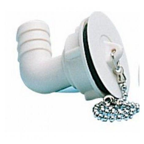 Bonde coudée avec bouchon et chaînette filetage Ø 25 mm pour tuyau Ø 20 mm