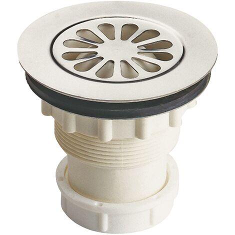 Bonde de douche Ø60 sortie verticale NF pour évier grès